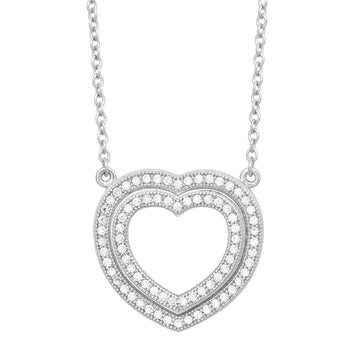 Sterling Silver Open Micro Pave Heart Necklace