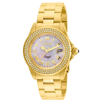 Invicta Women's MOP Dial Quartz Watch - Angel Crystal Yellow Gold Steel Dive | 22875