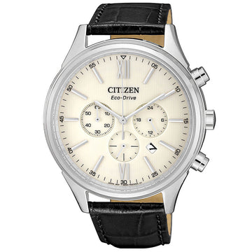 Citizen CA4410-17A Men's Eco-Drive Chrono Cream Dial Strap Watch