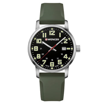 Wenger 01.1641.112 Men's Avenue Black Dial Olive Green Silicone Strap Watch