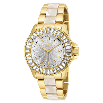 Invicta 17940 Women's Angel Silver Dial Yellow Gold Steel & White Pearlized Resin Bracelet Watch