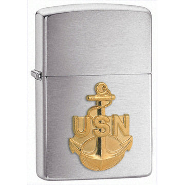 Zippo 280ANC US Navy Anchor Emblem Brushed Chrome Windproof Lighter