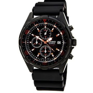 Casio Men's Chronograph Watch - Quartz Black Dial Resin Strap | AMW370B-1A1