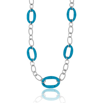 Sterling Silver Heavy Link Turquoise Ovals Necklace