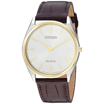 Citizen Men's Strap Watch - Stiletto White Dial Brown Leather Eco-Drive | AR3074-03A