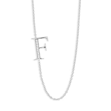 "Sterling Silver Off-Center CZ ""F"" Necklace"