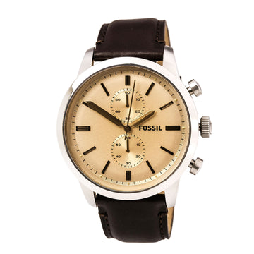 Fossil FS5156 Men's Townsman Chronograph Rose Gold Dial Dark Brown Leather Strap Watch