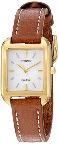 Citizen Women's Leather Strap Watch - Silhouette Eco Drive White Dial | EM0492-02A