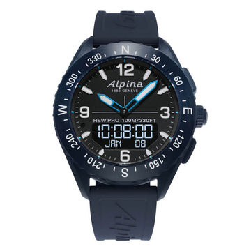 Alpina Men's Strap Smartwatch - AlpinerX HSW Alarm Navy Blue Rubber | AL-283LBN5NAQ6