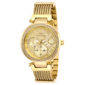 Invicta Women's Quartz Watch - Angel Gold Tone Dial Bracelet | 28918