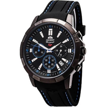 Orient Men's Chronograph Watch - Sporty Black Dial Silicone Rubber Strap | FKV00007B