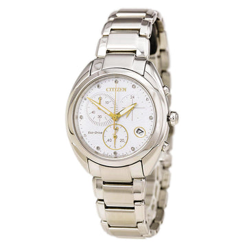 Citizen Women's Chronograph Diamond Watch - Celestial Eco Drive Steel White Dial
