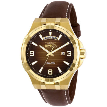 Invicta Men's Quartz Watch - Objet D Art Brown Leather Strap | 30187