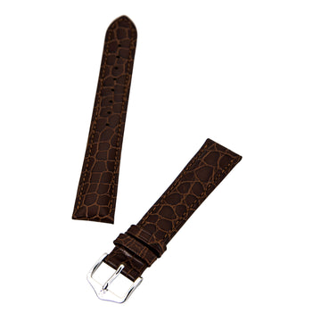 Hirsch Aristocrat 's Brown 18 mm Wide Crocodile Grain Leather Strap