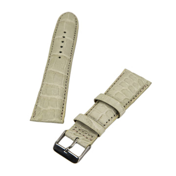 Brentwood Beige 24 mm Wide Genuine Alligator Leather Band