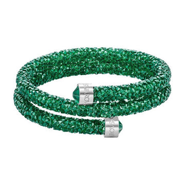Swarovski Women's Double Bangle - Crystaldust Medium, Emerald Green | 5273642