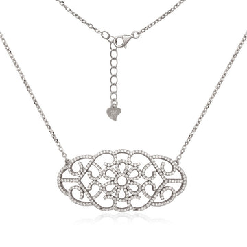 Sterling Silver Large Open CZ Micro Pave Necklace
