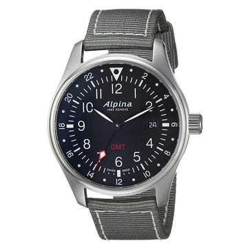 Alpina Men's Strap Watch - Startimer Pilot Quartz GMT Grey Nylon | AL-247B4S6