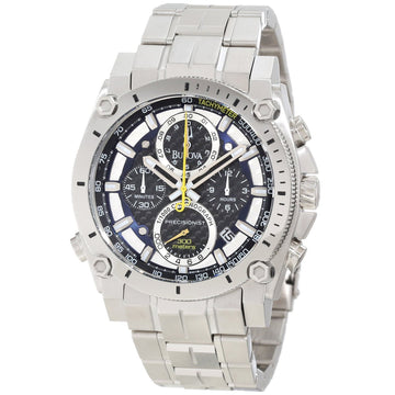 Bulova 96B175 Men's Precisionist Sporty Black Carbon Fiber Dial Champlain Bracelet Chronograph Stainless Steel Dive Watch