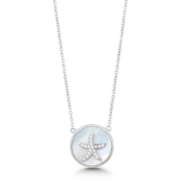Sterling Silver Round MOP CZ Starfish Necklace