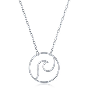 Sterling Silver Wave Design Necklace