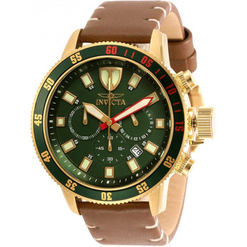 Invicta Men's Chronograph Watch - I-Force Green Dial Brown Leather Strap | 31398