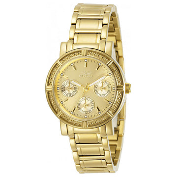Invicta 14873 Women's Yellow Steel Bracelet Swiss Quartz Wildflower Champagne Dial Day-Date Watch