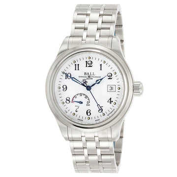 Ball Men's Power Reserve Watch - Trainmaster White Dial Bracelet | NM1056D-S1J-WH