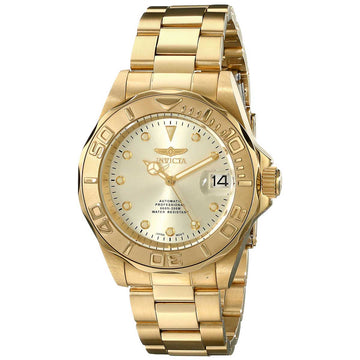 Invicta 17054 Men's Pro Diver Gold Dial Yellow Gold Steel Bracelet Automatic Dive Watch