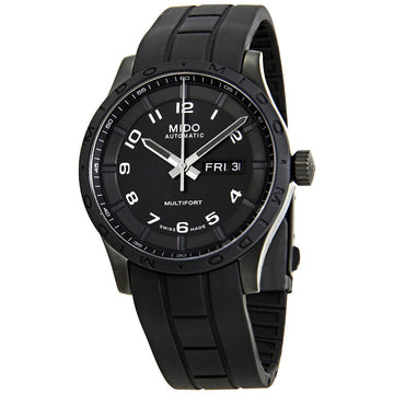 Mido Men's Automatic Watch - Multifort Black Dial Rubber Strap | M0184303705280