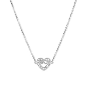 Sterling Silver Micro Pave Curled Heart Necklace