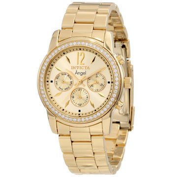 Invicta 11770 Women's Angel Crystal Accent Bezel Gold Tone Dial Gold Plated Steel Watch