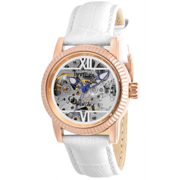 Invicta Women's Automatic Watch - Objet D Art Skeleton Dial White Strap | 26349