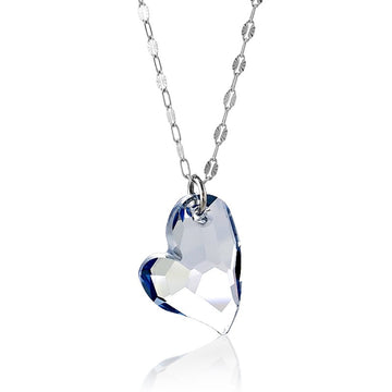 Sterling Silver Large Blue Heart Swarovski Necklace