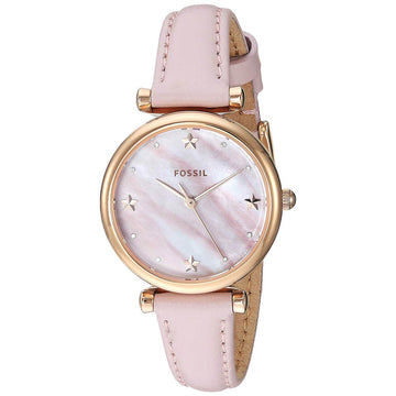 Fossil Women's Quartz Watch - Carlie Mini Pink Mother of Pearl Dial Strap | ES4525