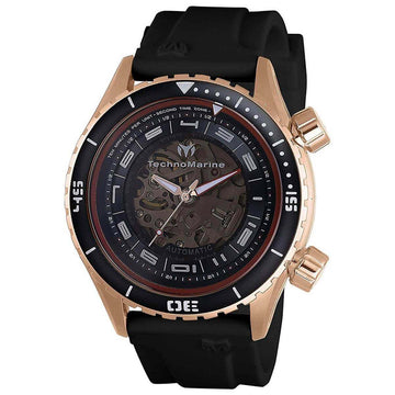 Technomarine Men's Automatic Watch - Dual Zone Rose Gold Case Black Strap | TM-218006