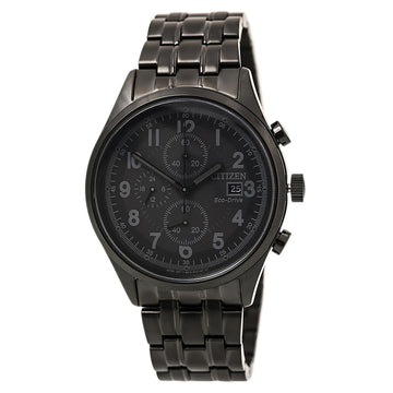 Citizen Men's Chronograph Watch - Chandler Eco-Drive Matte Black Dial Black Steel