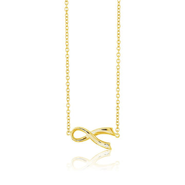 Sterling Silver Gold Awareness Ribbon CZ Necklace