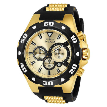 Invicta 24682 Men's Pro Diver Chronograph Gold Tone Dial Steel & Black Polyurethane Strap Watch