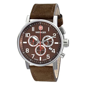 Wenger 01.1243.102 Men's Commando Chrono Brown Dial Brown Leather Strap Watch