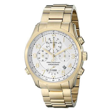Bulova Men's Chronograph Watch - Precisionist Yellow Gold Steel White Dial | 97B139