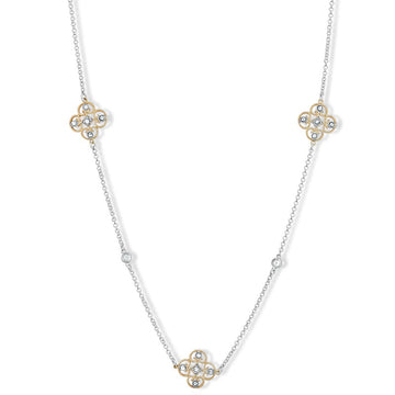 Sterling Silver Two Tone CZ Flowers Necklace