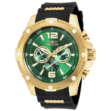 Invicta Men's I-Force Steel & Polyurethane Strap Watch - Dual Time Green Dial Compass