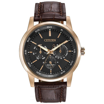 Citizen BU2013-08E Men's Dress Eco-Drive Black Dial Rose Gold Steel Brown Leather Strap Watch