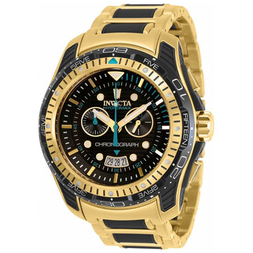 Invicta Men's Chronograph Watch - Hydromax TT Black and Yellow Gold Bracelet | 29577