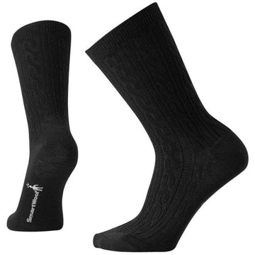 Smartwool Women's Crew Socks - Cable II, Black, Medium | SW0SW672-001-M