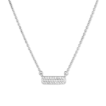 Sterling Silver Small Micro Pave Bar Necklace