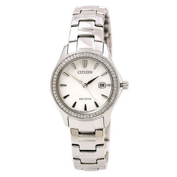 Citizen FE1140-86D Women's Eco Drive Silhouette Crystal Steel Bracelet Mother of Pearl Dial Watch