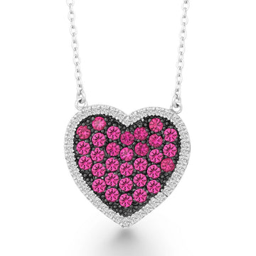 Sterling Silver Pink and Black CZ Heart Necklace