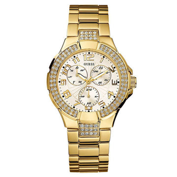 Guess L16540L1 White Dial Women's Crystal Yellow Gold Watch